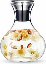 MUZIYU 1,5 Liter Glaskaraffe Wasserkrug mit
