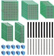 MVPOWER 50stk. Lochrasterplatine Kit doppelseitig Lochrasterplatte PCB Board kit Leiterplatte Set (20 x Leiterplatte-5x7 4x6 3x7 2x8cm, 10 x Anschlussklemme, 20 x Pin Kopfleiste)