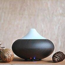 MVPower Aroma Diffuser Luftbefeuchter Ultraschall Luftreiniger Raumbefeuchter LED Farbenwechsel LED Licht für Yoga Kinderzimmer Schlafzimmer Büro (dunkle Holzmaserung)