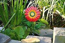 MW Handel Gartendeko Blume aus Metall Gerbera rot Gartenblume Gartenstecker