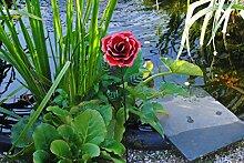 MW Handel Gartendeko Blume aus Metall Rose rot Gartenblume Gartenstecker