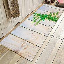 MWMG Fussmatten,Rutschfester Teppich Holzmaserung