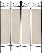 Mxfurhawa Raumteiler mit 4 Paneelen, Stahlrahmen &