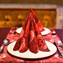 MXJ61 Serviette Tischdecke Hochzeit Restaurant Hotel Mund Tuch Tisch Flag Tischset Tischset 40 * 40 cm 12 Blätter / 1 Packungen ( Farbe : Rot )