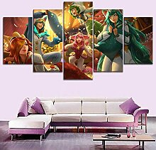 MXLYR Leinwanddrucke Bild 5 Stück Game Hero Happy