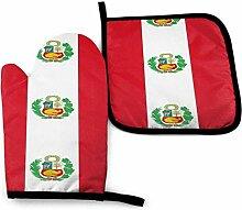 Mxung Peru-Flagge Ofenhandschuhe Set