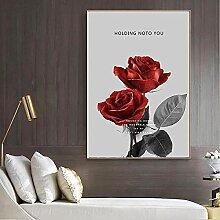 MXXC Leinwand Dekorative DruckeRote Rose Poster