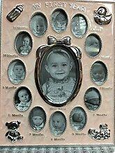 My First Year Baby Geschenkidee Rosa Foto Rahmen hält 13Bilder Cherished Memories