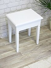 My Flair Meridian Sitzhocker / Holzhocker weiß antik, Landhausstil mit Shabby-Chic, 08128DF