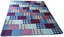 My Flair Patchwork Decke hellblau/lila 155 x 180 cm