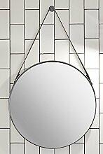 MY-Furniture DIPRE Runder Wandspiegel mit Lederriemen