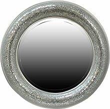 My Glam Home Rahmen Mosaik Spiegel, Silber, 9x