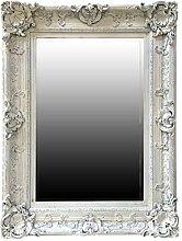 My Glam Home Wandspiegel, Antik Weiß mit Reiben,