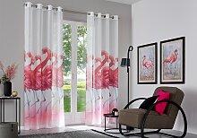 my home Gardine Flamingo 265 cm, Ösen, 135 cm