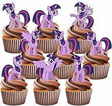 My Little Pony Tortendekoration, Motiv: Twilight Sparkle, essbare Cupcake-Dekoration, 12 Stück