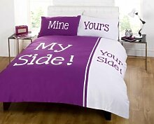My Side Your Side King Größe Bettbezug und zwei Kissenbezüge Bett-Set Bettwäsche Leinen, Damson Lila