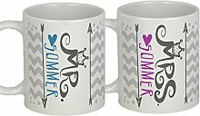 My Sweetheart® | Hochzeitsgeschenk MR MRS | schickes PERSONALISIERBARES Tassen Set | tolle Geschenkidee zur Hochzeit mit Herz und Liebe handgemach