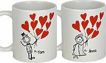 My Sweetheart® Hochzeitsgeschenke Brautpaar | PERSONALISIERBARES Tassen Becher Set | Geschenk zur Hochzeit Geschenkidee Hochzeit Gastgeschenk