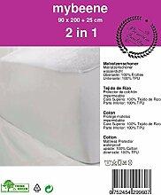 mybeene Matratzenschoner wasserdicht mit einem Rundumgummi | Frottee | wasserundurchlässig | atmungsaktiv | geruchlos | trocknergeeignet | Spannbezug Matratzenschonbezug Matratzenschutz Inkontinenz Spannbettlaken | weiß (2 x 90 x 200 cm)