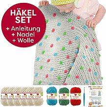 Myboshi Häkel-Set Babydecke mit Pünktchen 64cm x 67cm: 8 x Wolle Lieblingsfarben No.2 + Häkelanleitung + Häkelnadel + selfmade Label Wollfarben (Elfenbein Kaktus Tomate Aquamarin)
