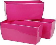 myBoxshop 3 Stück Rosa Blumenkübel 7 Liter