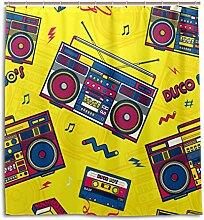 MyDaily Retro Pop Boombox Radio 80s Duschvorhang