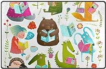 MyDaily Teppich mit lustigem Tier-Lesebücher,