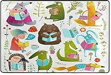 MyDaily Teppich mit lustigen Tier-Lesebüchern