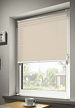 mydeco® 60x130 cm [BxH] in creme - Plissee Jalousie ohne bohren, Rollo für innen incl. Klemmträger (Klemmfix) - Sonnenschutz, Sichtschutz für Fenster