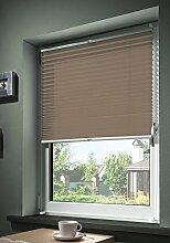 mydeco® 80x210 cm [BxH] in taupe - Plissee Jalousie ohne bohren, Rollo für innen incl. Klemmträger (Klemmfix) - Sonnenschutz, Sichtschutz für Fenster und Türen