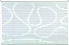 mydeco® 80x210 cm [BxH] mit Muster, weiß / weiß - Plissee Jalousie ohne bohren, Rollo für innen incl. Klemmträger (Klemmfix) - Sonnenschutz, Sichtschutz für Fenster und Türen