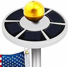 myfei LED Solar Fahnenmast Licht mit 26Flagge wetterfest Outdoor Fahnenstange Einbauleuchte Sicherheit Licht für Nacht Beleuchtung Lichter bis Flagge oder Outdoor Camping Zelt weiß