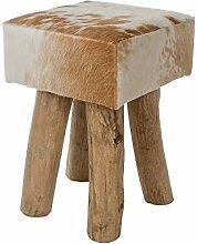 MyFlair Hocker, Holz, Fell, Weiß, 30 x 30 x 45 cm