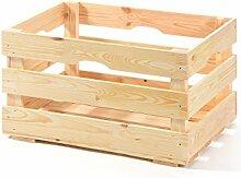 myGardenlust Holzkiste - Vintage Kiste - Weinkiste aus Holz- Obstkiste Groß zur Dekoration und Aufbewahrung - Dekokiste für Indoor - Apfelkiste als Tisch oder Regal natur