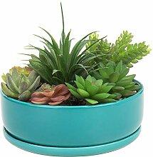 MyGift Blumentopf für Sukkulenten, Keramik, rund,