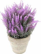 MyGift klein Kunstpflanze Lavendel im Keramik-Blumentopf Pflanzgefäß, rustikal, Viole