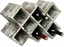 MyGift Rustikales Weinregal aus Holz,