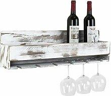 MyGift Rustikales Weinregal mit Flaschenhalter und