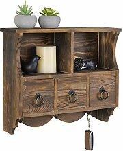 MyGift Wandregal Vintage Holz Cubby Regal mit 3