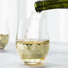 MyGift Weingläser, Glas, goldfarben, gehämmert,