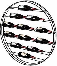 MyGift Weinregal für 12 Flaschen, Metall, rund,