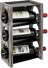MyGift Weinregal für 3 Flaschen, aus massivem