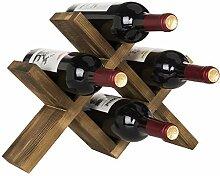 MyGift Weinregal für 4 Flaschen, rustikal, Braun