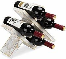 MyGift Weinregal für 4 Flaschen, weiß gekalkt,