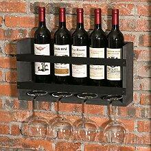 MyGift Weinregal für 5 Flaschen aus Metall und