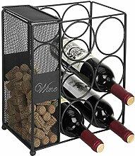 MyGift Weinregal für 6 Flaschen, Drahtgeflecht,