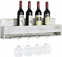 MyGift Weinregal mit Flaschen- und Glashalter,