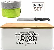 myHodo Brotkasten Set mit Metall Brotbox, Stoff