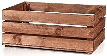 myHomery massive Holzkiste - Vintage Kiste - Weinkiste aus Holz- Obstkiste Groß zur Dekoration und Aufbewahrung - Dekokiste für Indoor - Apfelkiste als Tisch oder Regal Braun | 58x39