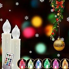 MYHOO 40 Stück RGB Bunt LED Weihnachtskerzen